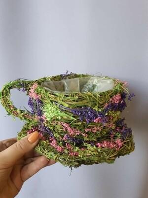 Кашпо плетеное чашка сиреневая