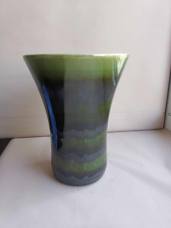 Ваза керамическая зелёная светлая 14,3*14,3*18
