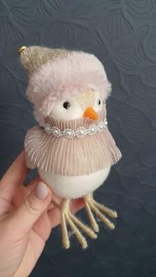 Сувенир птичка розовая 14,5см