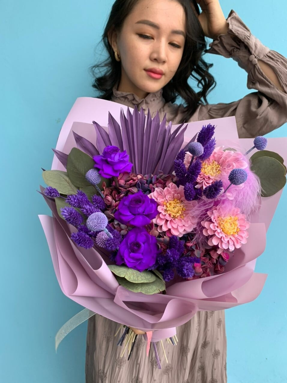 Букет из сухоцветов и интерьерных цветов Фьюжн