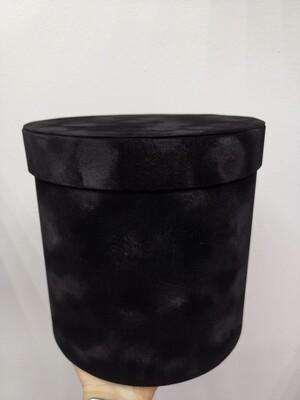 Коробка подарочная круглая чёрная бархат d=17, h=17