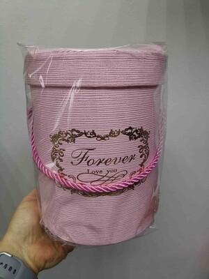 Коробка подарочная круглая розовая d=14,h=18,5