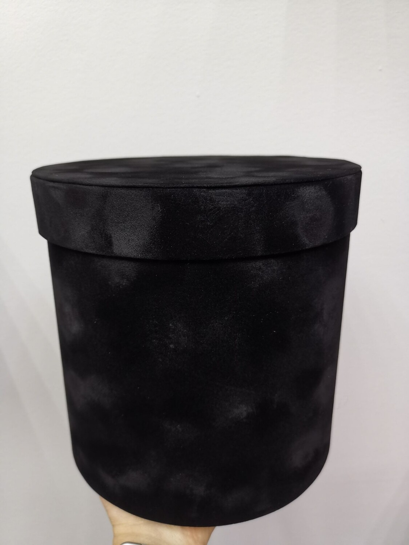 Коробка подарочная круглая чёрная бархат d=14, 5, h=14,5