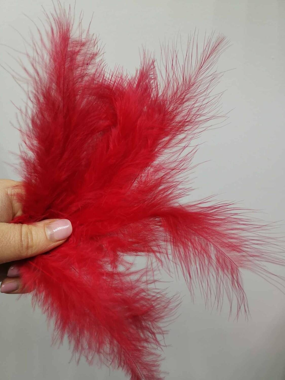 Перо птицы красное натуральное 10-15см набор 10шт