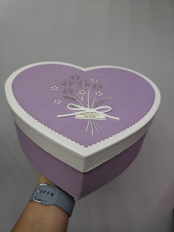 Коробка подарочная сиреневая сердце 19см. Высота 7см