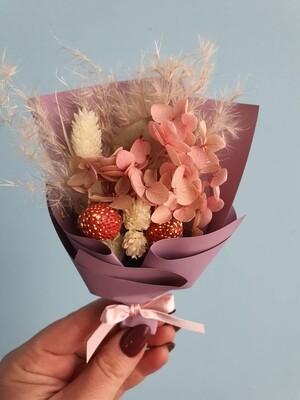 Комплимент букетик с розовой гортензией