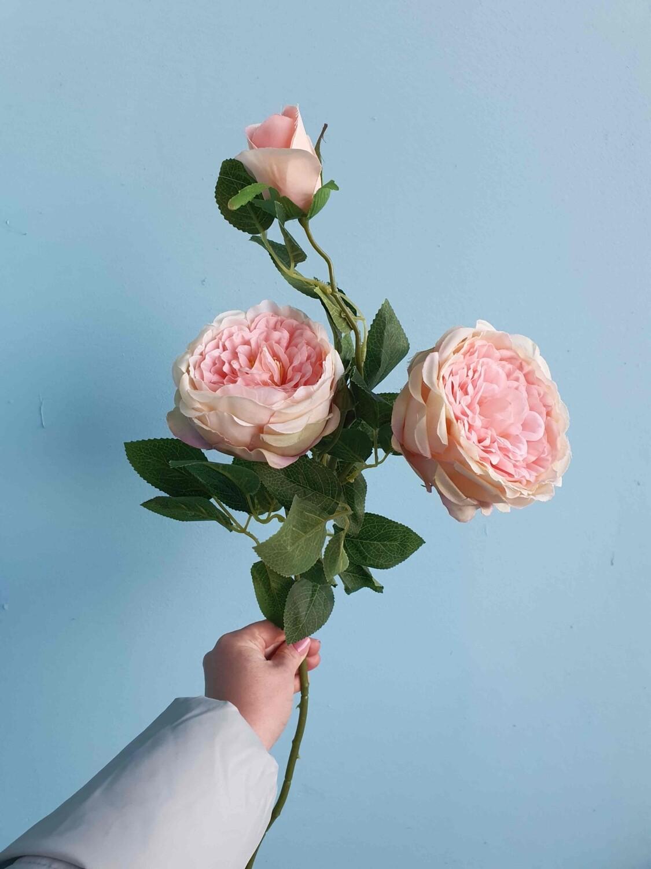 Роза розовая искусственная тканевая