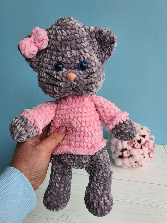 Toy knitted cat girl Handmade