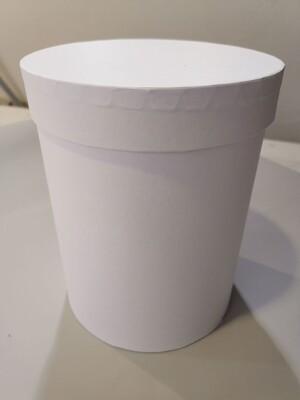 Коробка шляпная белая с лёгким блеском d=15, h=20см