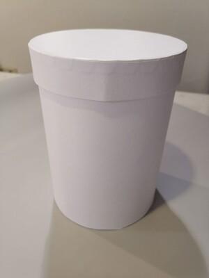 Коробка шляпная белая с лёгким блеском d=13,h=18