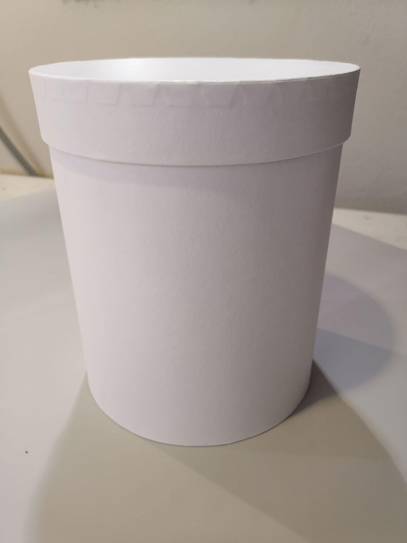 Коробка шляпная белая с лёгким блеском d=17, h=50