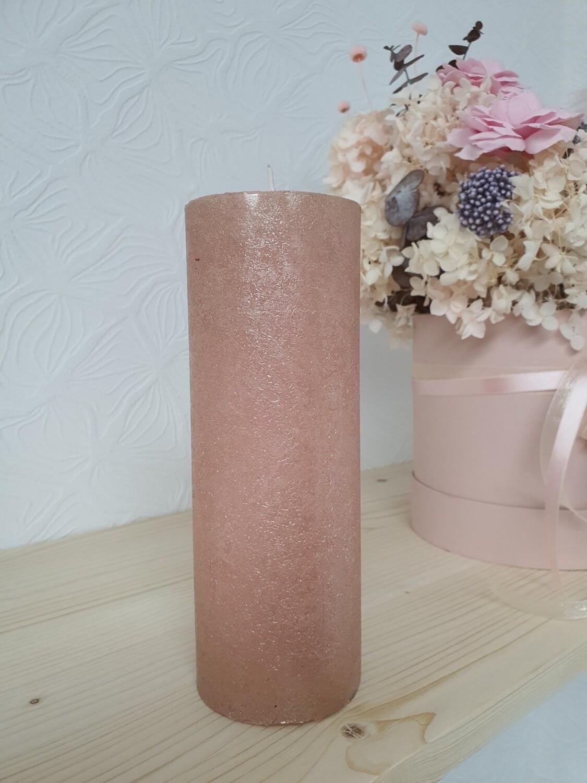 Свеча столбик розовый металлик 19см