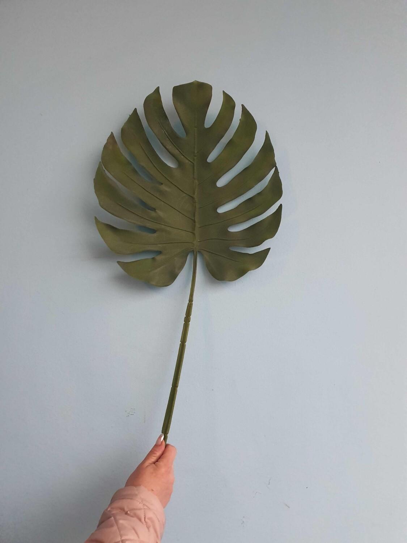 Лист пальмы зеленый силиконовый 85см