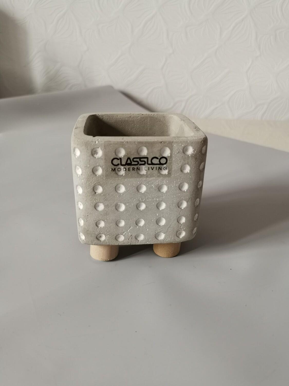 Кашпо керамика куб серый 7,5см