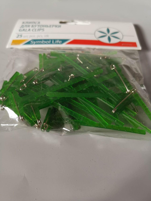 Клипса для бутоньерки 2*6см зелёный