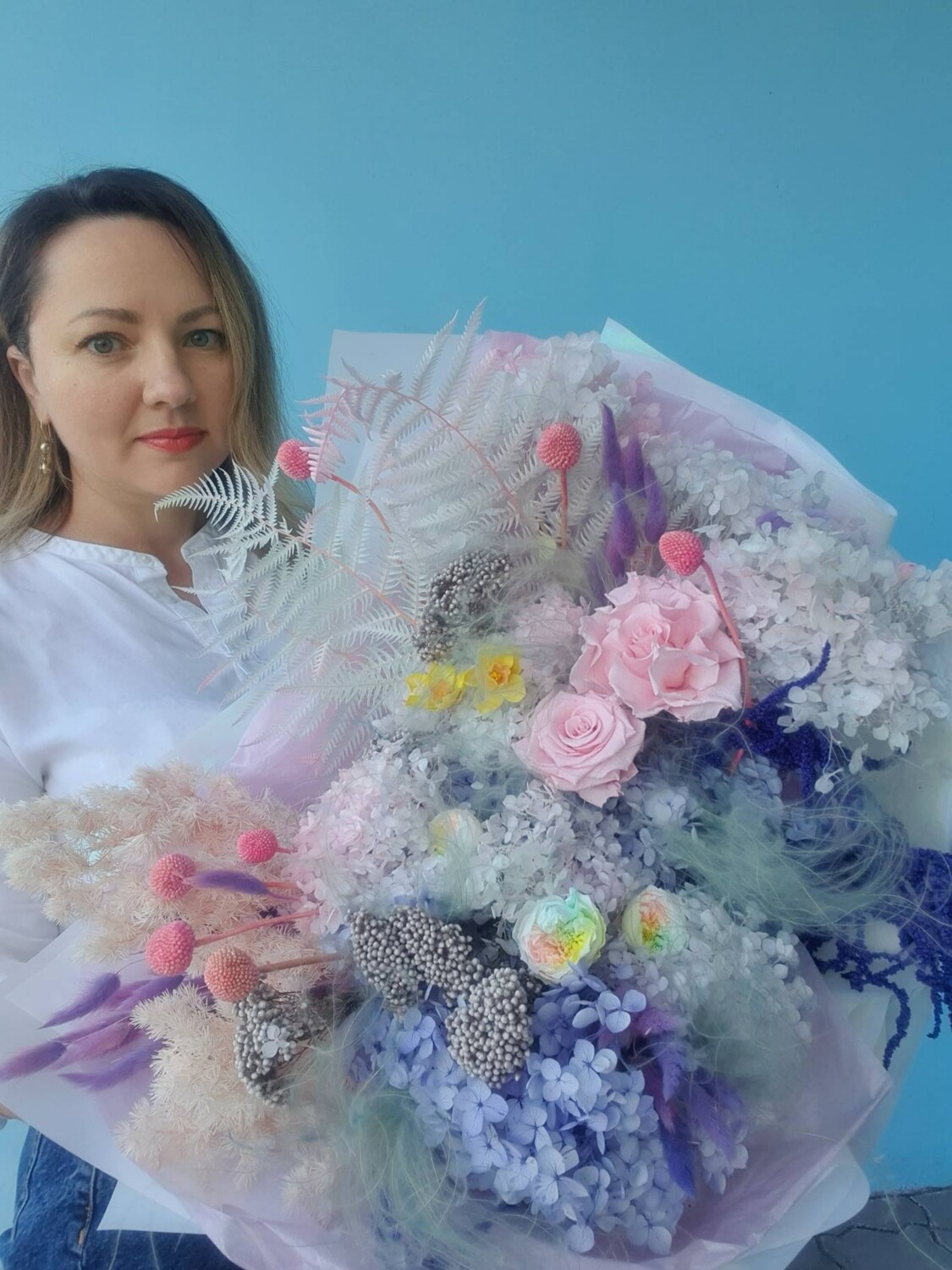 Bouquet magic senses from stabilized flowers and dried flowers