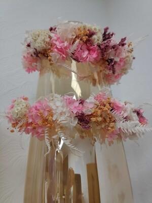 Венок на голову из сухоцветов бело-розовый