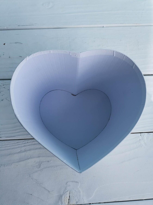 Коробка шляпная сердце белая без крышки 14*13*h10