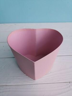 Коробка шляпная сердце розовая без крышки 14*13*h10