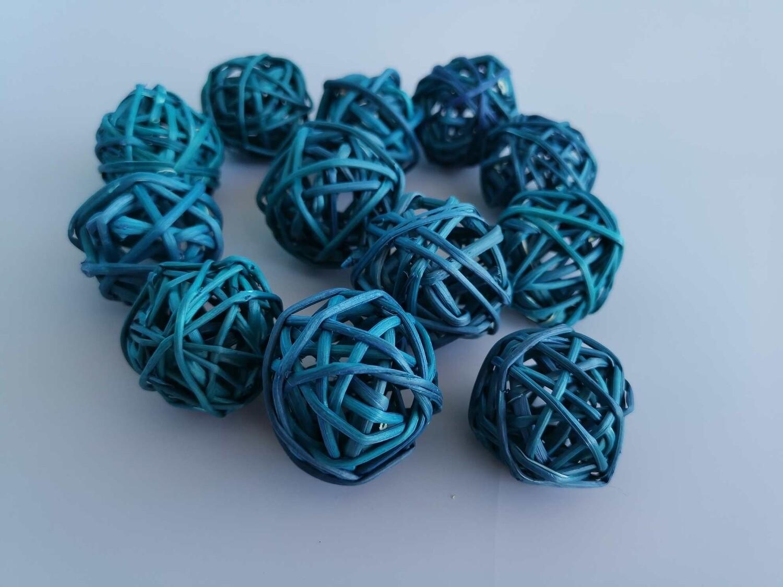 Набор шаров плетеных ротанг бирюзовый D=3см
