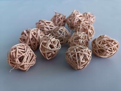 Набор шаров плетеных ротанг каппучино D=3см