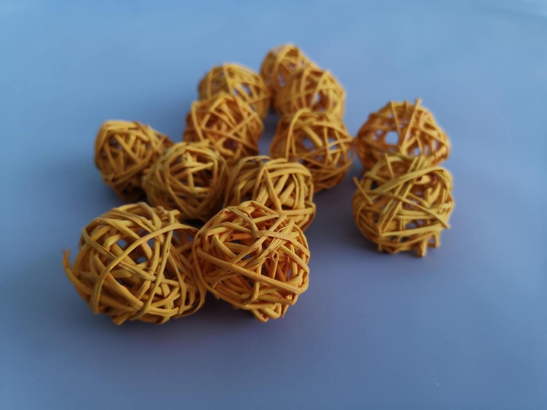 Набор шаров плетеных ротанг пастельно-оранжевый D=3см