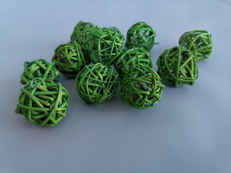 Набор шаров плетеных ротанг зелёное яблоко D=3см