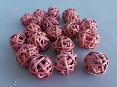 Набор плетеных шаров ротанг, D=3 см розовые