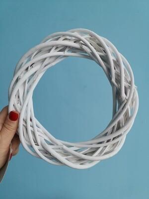 Венок декоративный ива D=20 см белый
