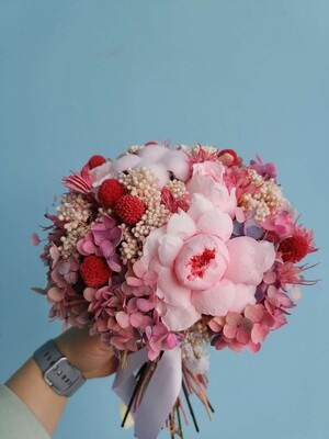 Bouquet round with peony roses Marakanka Fairy Tale