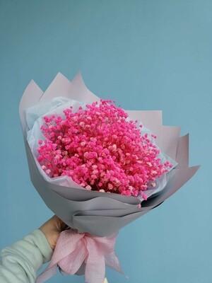 Букет из стабилизированной гипсофилы ярко розовый