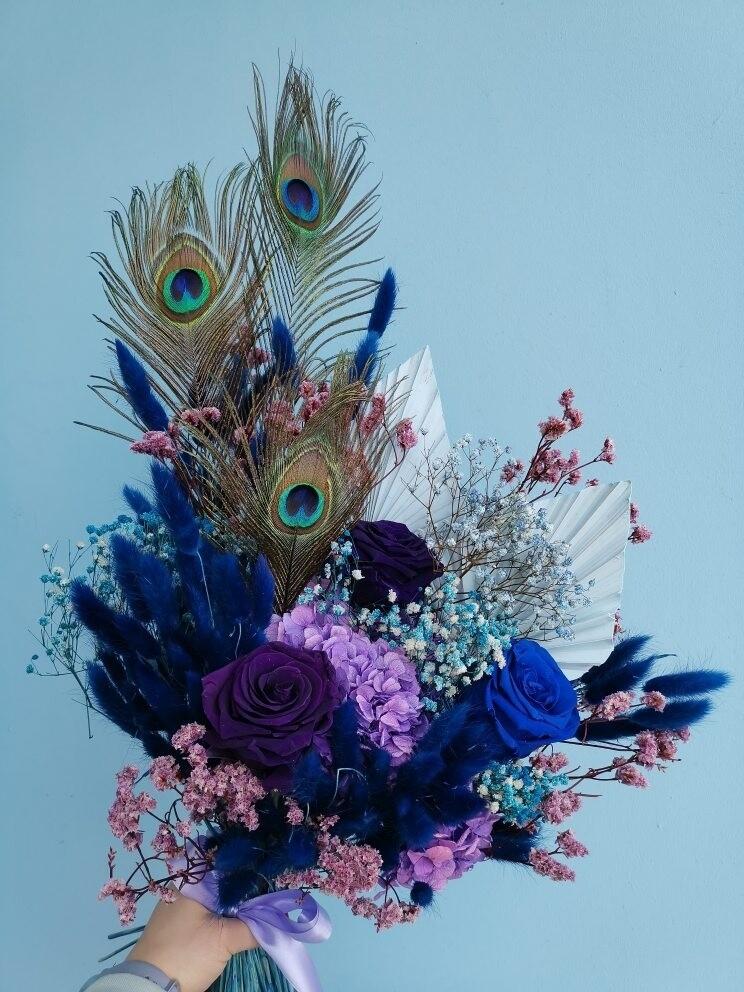 Букет интерьерный сине-фиолетовый
