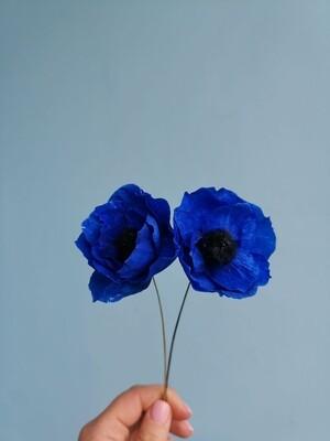 Анемон синий 4-5см ручной работы