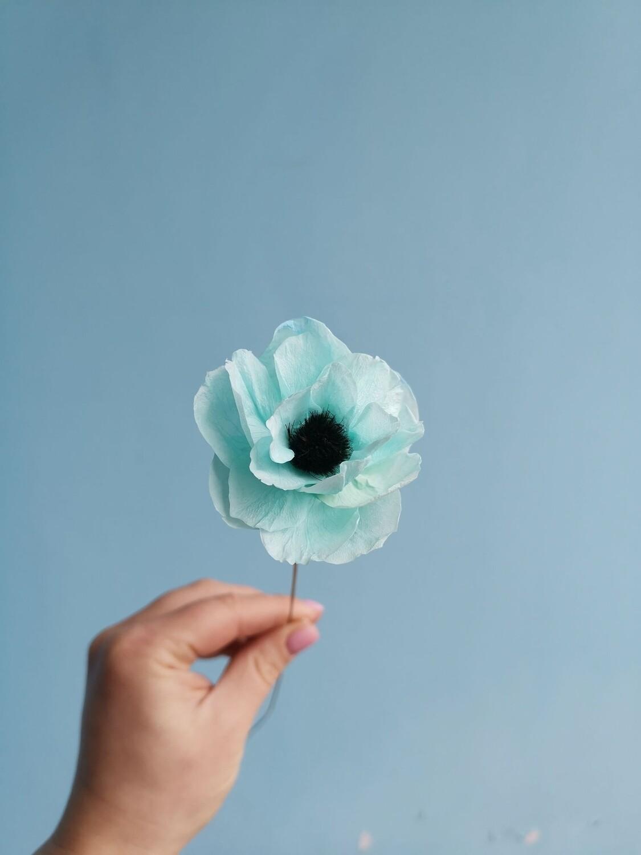 Анемон голубой 3-4см ручной работы