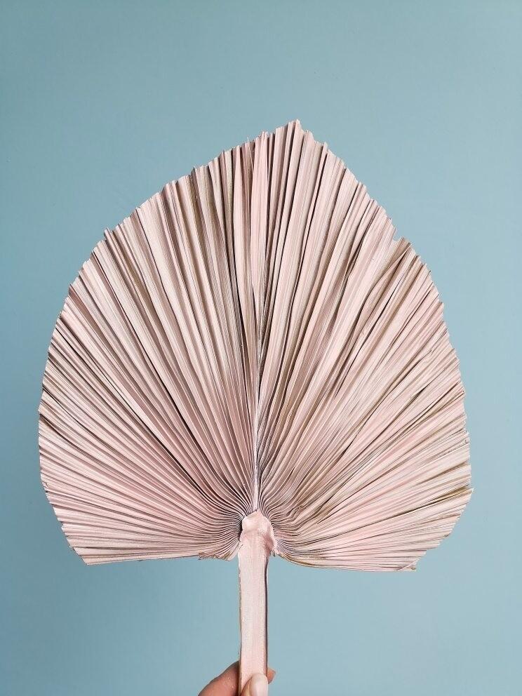 Лист пальмы копье розовое золото большой