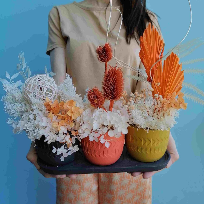 Набор для декора трио сухоцветы в гипсовых кашпо