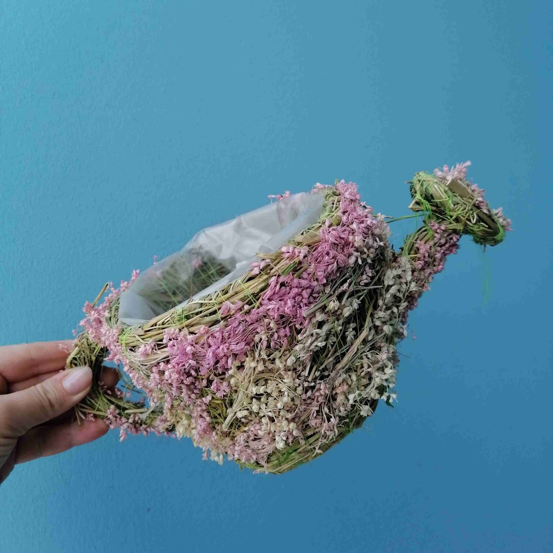 Flowerpot wicker watering can pink 12cm