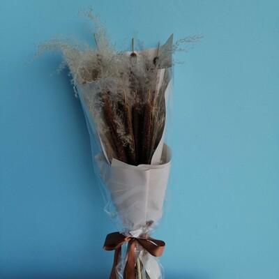 Bouquet with cattail and cortaderia