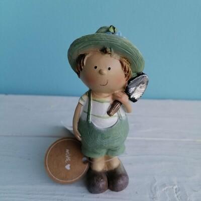 Сувенир керамика мальчик зелёный 11см