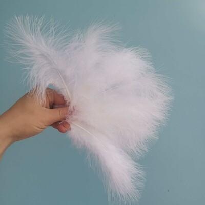 Перо птицы белое натуральное 17-19см набор 10шт