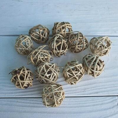 Ротанг. Набор плетеных шаров. D=3 см натуральные