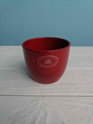 Кашпо красное керамика 10см
