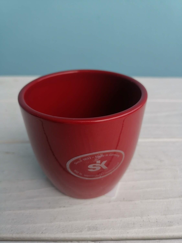 Кашпо красное керамика 8см