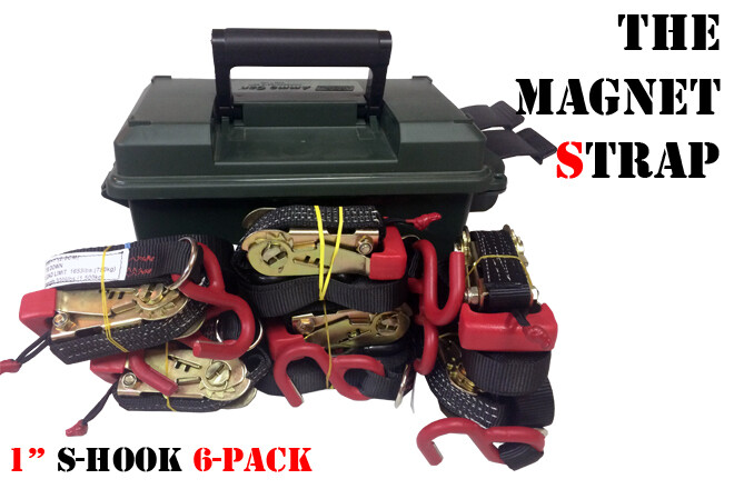"6 Pack 1"" Magnet Strap With S-Hooks In Ammo Can"