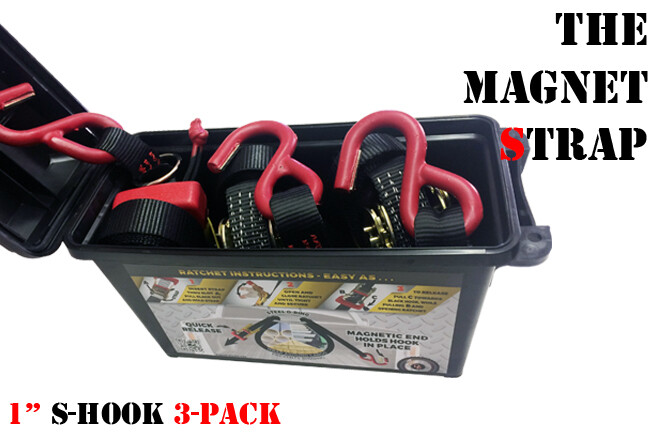 """3 Pack 1"""" Magnet Strap With S-Hooks In Ammo Box"""