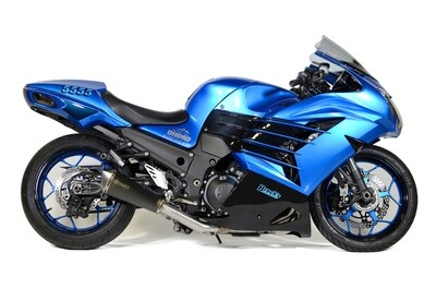 Brock's Predator Full System - Stainless Front Section w/ Electro-Black Muffler ZX-14R (12-20)