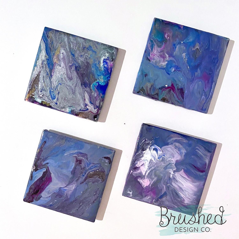 *Custom Listing* Paint Pour Coaster 4 Pack