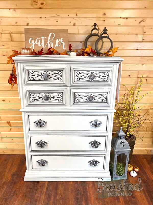 Glazed Detail High Boy Dresser