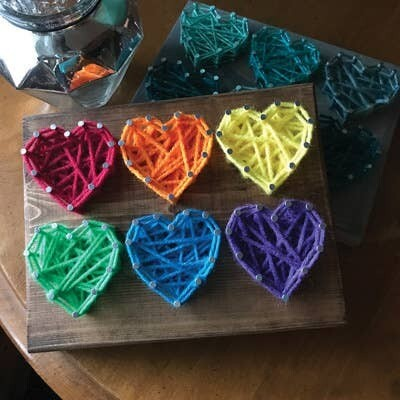 Six Hearts Mini String Art Kit - DIY