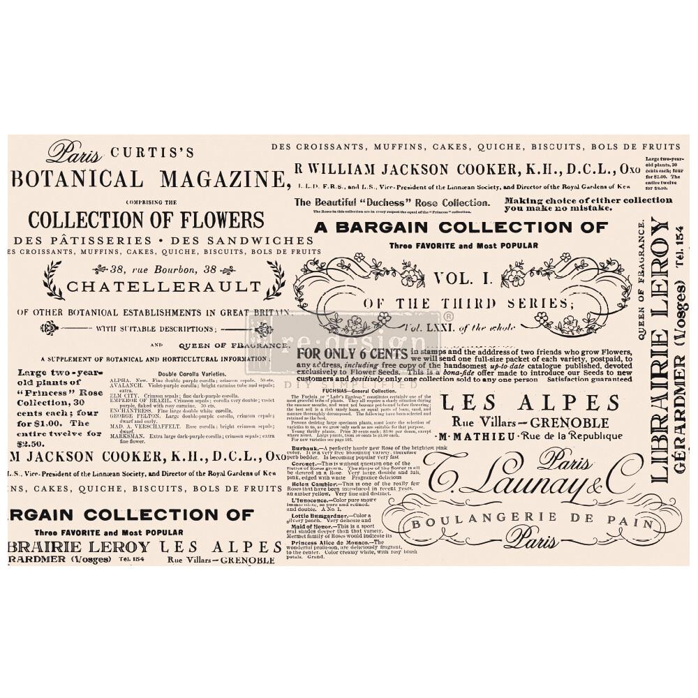Decoupage Décor Tissue Paper - Floral Text